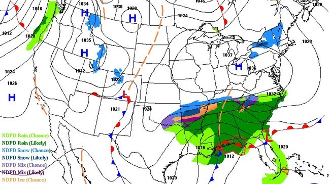 Still an outside chance for light snow south of DC Sunday as