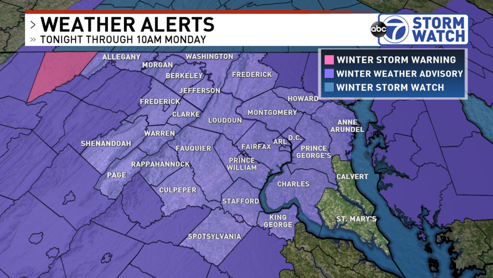 Winter Weather Advisory issued for DC area Sunday night into