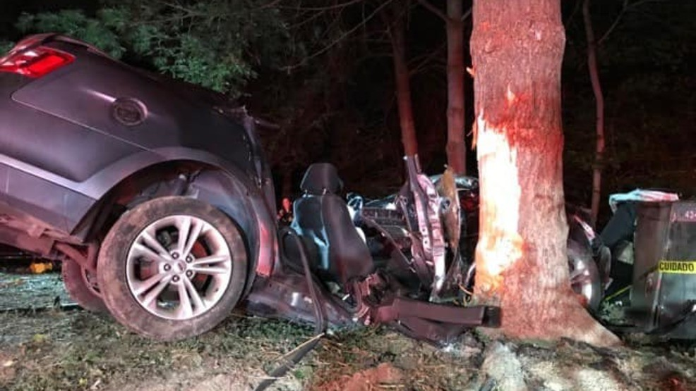 One car destroyed, 3 people hospitalized after serious crash