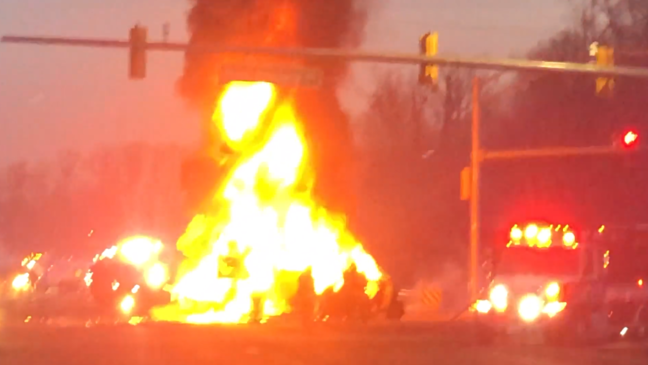 2 dead, including 8-year-old boy, in fiery crash involving 12