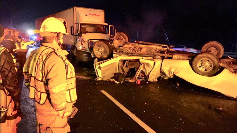 2 tractor trailers and overturned pickup truck involved in crash on