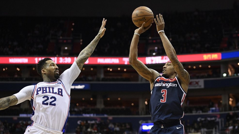 1a19c446a Washington Wizards guard Bradley Beal (3) shoots against Philadelphia 76ers  forward Wilson Chandler (22) during the second half of an NBA basketball  game