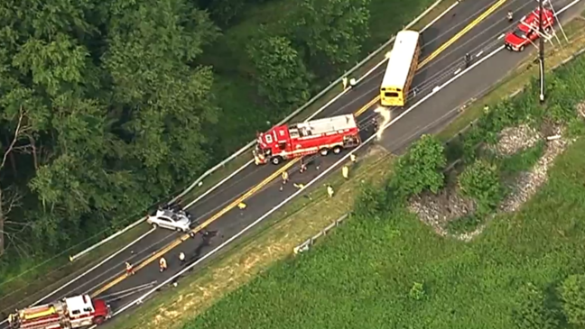 Driver trapped after head-on collision involving school bus