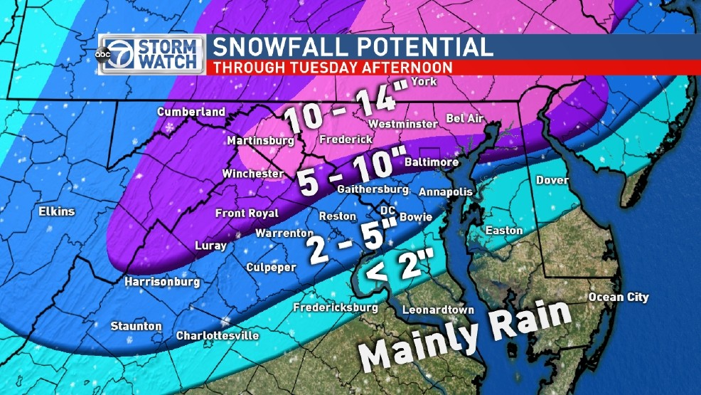New Projected Snowfall Totals Lower For The Dc Metro And East Wjla