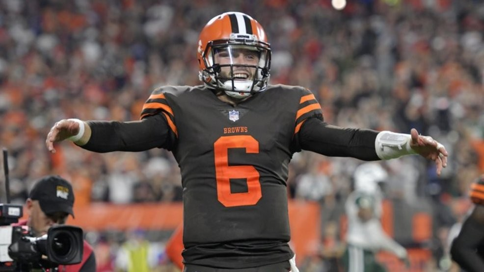 40eb097ff Cleveland Browns quarterback Baker Mayfield celebrates a 1-yard touchdown  by running back Carlos Hyde during the second half of an NFL football game  against ...