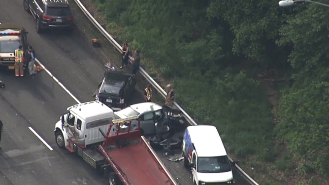 6 injured in multi-vehicle fiery crash on I-495 in Rockville | WJLA