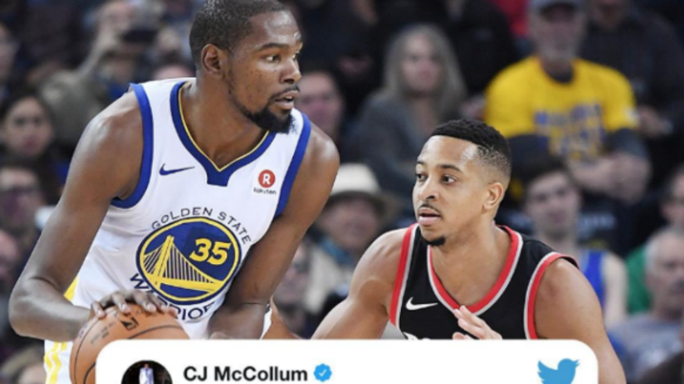 42efcefb3ca7 Kevin Durant and CJ McCollum got in a Twitter beef after McCollum called  KD s move the Golden State Warriors two years ago