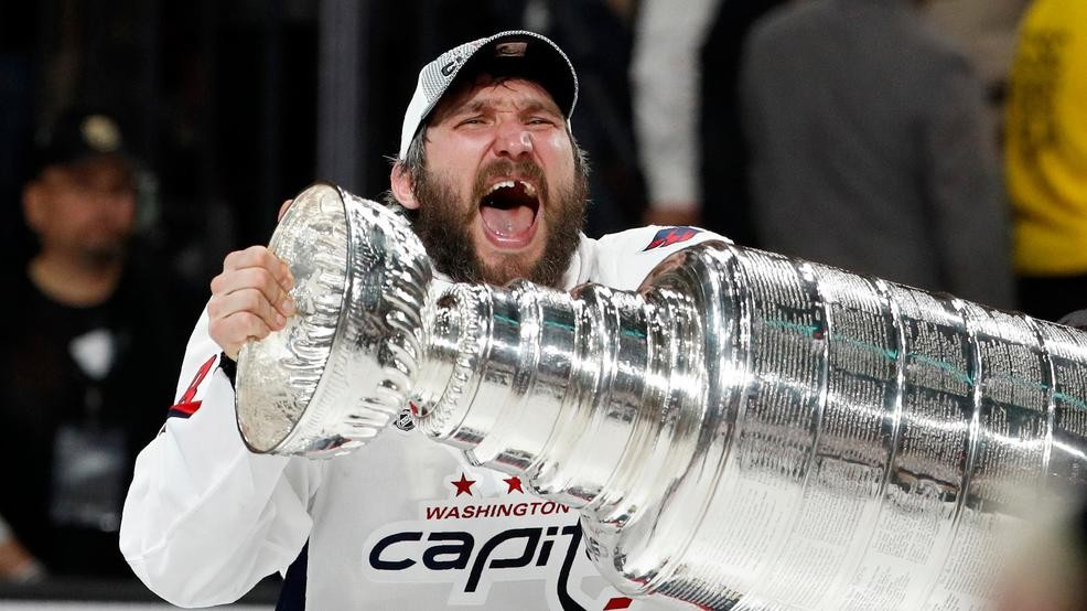ed4aab56038 The moment Alex Ovechkin hoisted the Stanley Cup for the 1st time