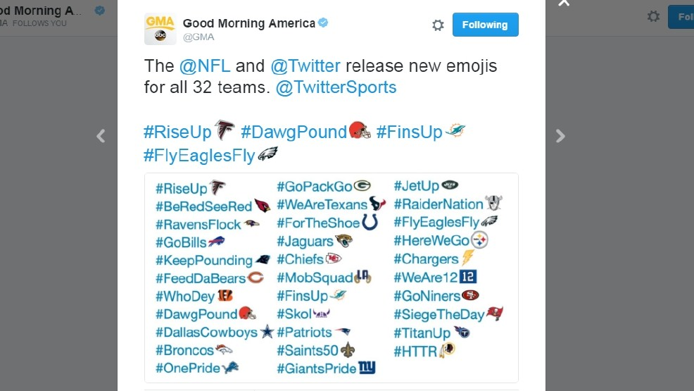 NFL releases official Twitter emojis for each team | WJLA