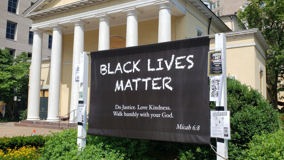 Black Lives Matter' banner outside St. John's displayed as sign of support  for movement | WJLA