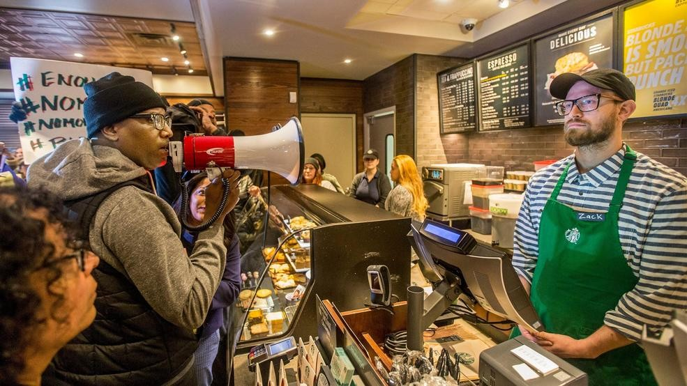 Image result for starbucks protesters