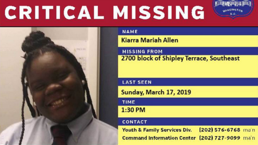 Police Missing 14 Year Old Girl Last Seen 3 Days Ago In Southeast Dc Wjla