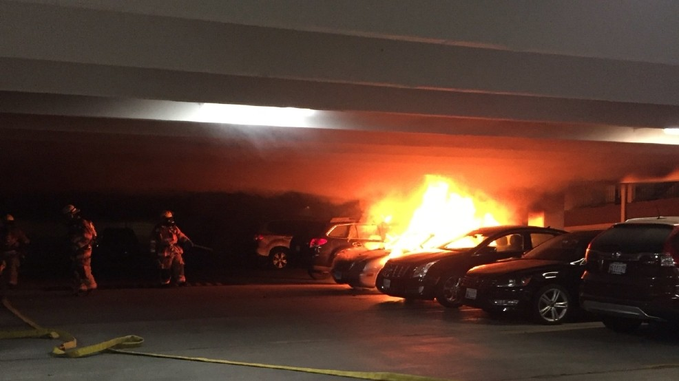 Car fire breaks out inside parking garage in Montgomery